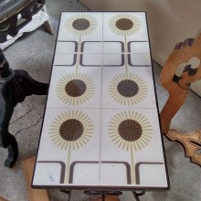 Table basse fer forgé et faïence